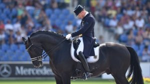 2015-08-15 00:00:00 epa04885124 A file picture made available on 15 August 2015 shows Matthias Alexander Rath of Germany on his horse Totilas in the Grand Prix Dressage Team Final during the FEI European Championships in Aachen, Germany, 13 August 2015. Matthias Alexander Rath and Totilas have withdrawn from further competition at the 2015 European Dressage Championships in Aachen on 15 August 2015..  EPA/UWEANSPACH